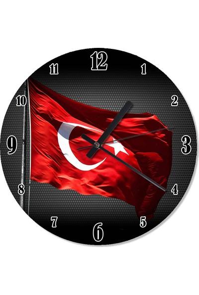 Tablomega Türk Bayrağı Duvar Saati