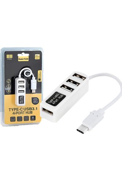 Hadron Type C USB 3.1 Çoğaltıcı 4 Port USB Hub