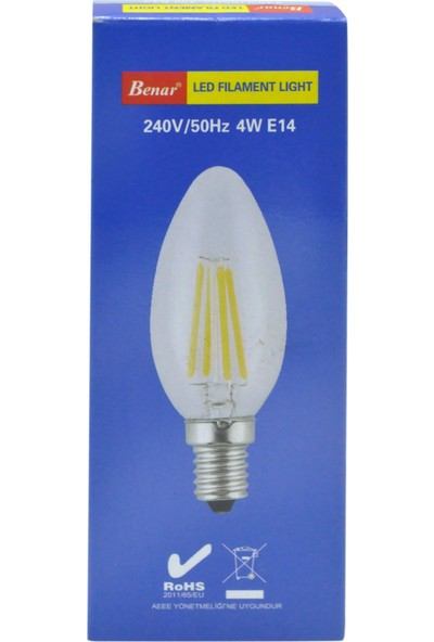 Benar 4W Led Filament Rustik Mum Ampul (Sarı Işıkı) E14