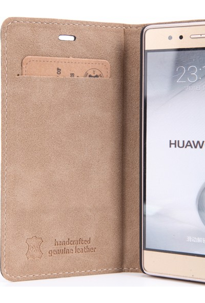 Dc Luca Magnet Deri Huawei P9 Mıknatıs Kapak Kartlıklı Stand Kılıf