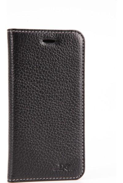 Dc Luca Magnet Deri İphone 6 / 6S Siyah Mıknatıslı Kitap Kartlıklı Stand Kılıf