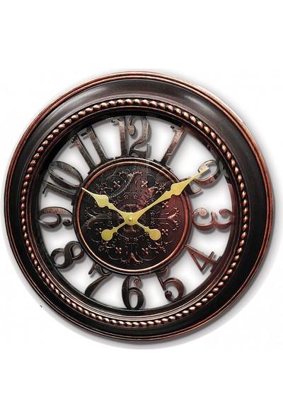Time Sütun Dekoratif Duvar Saati Kahverengi