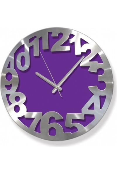Time Mor Metal Rakamlı Dekoratif Duvar Saati