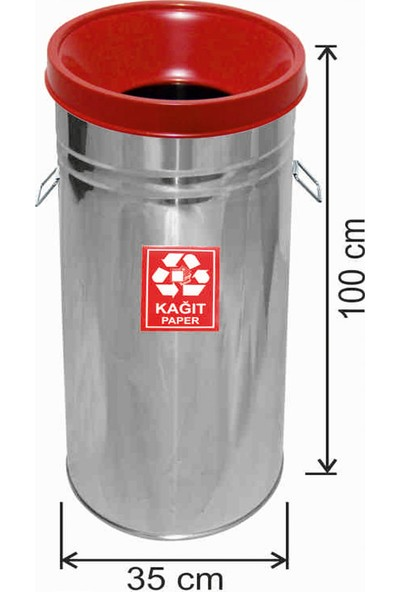 Avrupa Tedarik Geri Dönüşüm Çöp Kovası Paslanmaz 35*100 Kırmızı