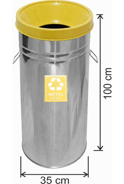 Avrupa Tedarik Geri Dönüşüm Çöp Kovası Paslanmaz 35*100 Sarı