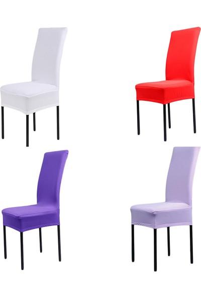 Sandalye Kılıfı - Dalgıç Kumaş - Likralı - Mavi 6 Adet