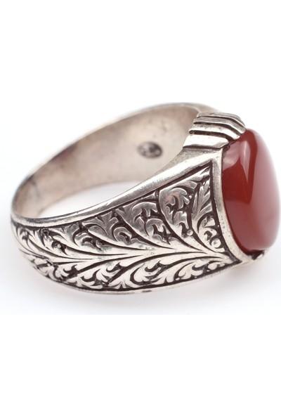 Nusret Takı 925 Ayar Gümüş Kırmızı Akik Taşlı İşlemeli Erkek Yüzük