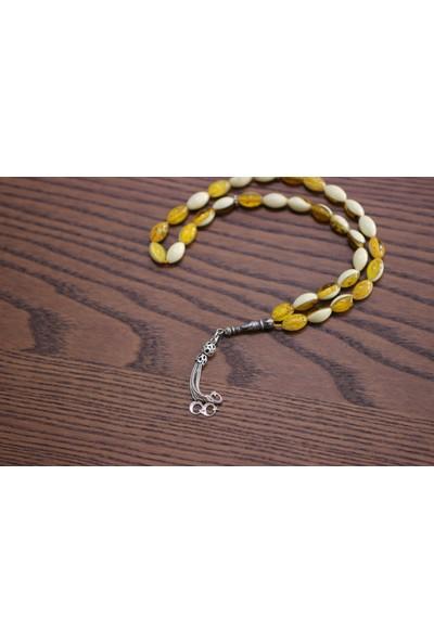Nusret Takı 925 Ayar Gümüş Tuğra Motifli Sarı Renk Kehribar Tesbih