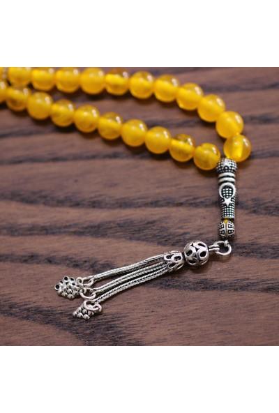 Nusret Takı 925 Ayar Gümüş Ay Yildiz Motifli Sarı Renk Kehribar Tesbih
