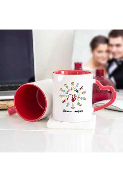 Soppigo Kişiye Özel Okul Öncesi Öğretmeni Kalpli Kupa Bardak - Kırmızı