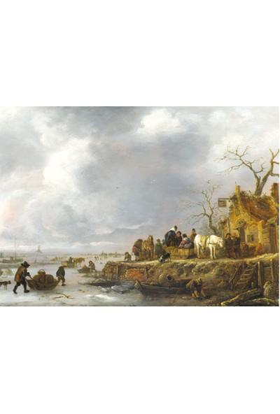 Follower of Isack Van Ostade - An Inn by a Frozen River