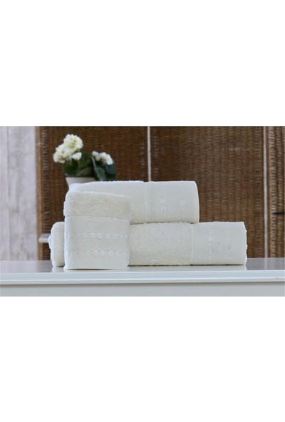 Minteks Cream-White 50X90 Havlu Kartanesi (Beyaz)