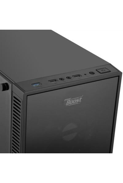 Power Boost Elegance Serisi VK-G1007R 4x12cm Kırmızı Led Fanlı, USB 3.0, Tempered Glass Oyuncu Kasa