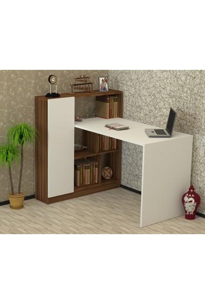 Elinor Çalışma Masası Ceviz-Beyaz