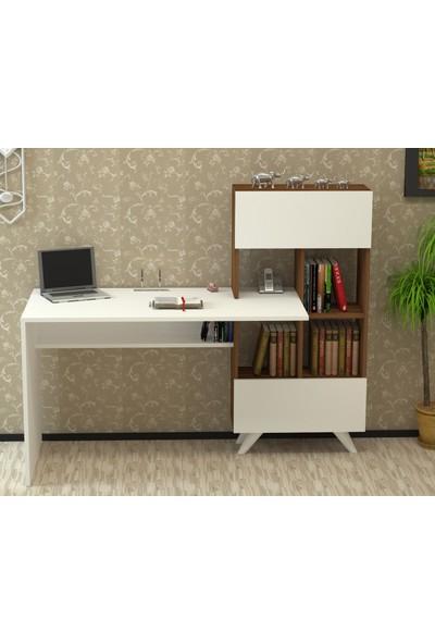Majör Çalışma Masası Ceviz-Beyaz