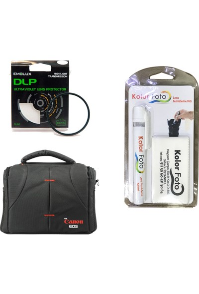 Emolux 49mm UV Filtre + Temizlik Kiti + Canon Çanta