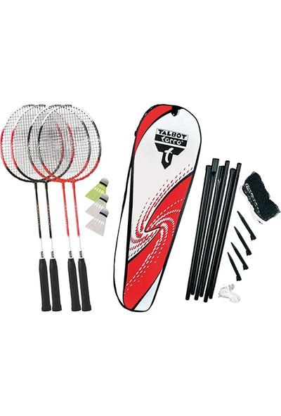 Talbot Torro 4-Attacker 4 Raket 3 Top File ve Çelik Badminton Raket Seti