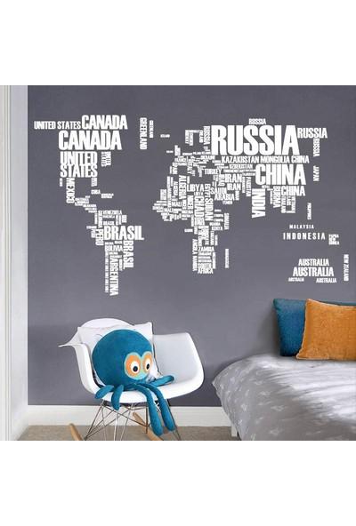 Dünya Haritası Ülke Adları Beyaz Renk Atlas Duvar Sticker Ev Ofis Dekorasyon Duvar Görsel Çıkartma