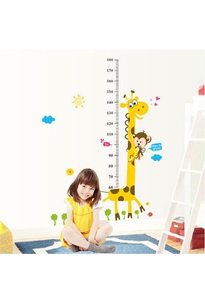 Duvar Sticker Çocuk Odası Dekoru Boy ve Gelişim Ölçer Zürafa XL Büyük Boy Dekor