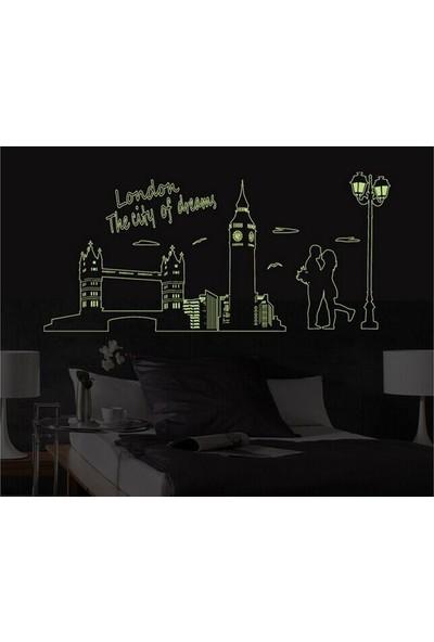 Ev Dekorasyonu Londra Şehir Manzarası Karanlıkta Parlayan Fosforlu PVC Duvar Sticker