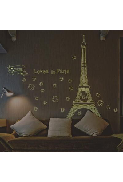Ev Dekorasyonu Karanlıkta Parlayan Fosforlu Fransa Paris Şehri PVC Duvar Sticker