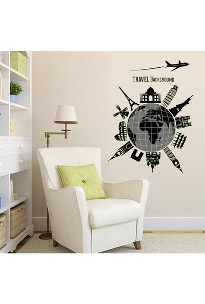 Karanlıkta Parlayan Fosforlu Ev Dekorasyonu Seyahat Dünya Temalı PVC Duvar Sticker Dekor