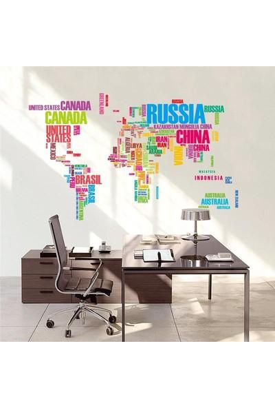 Dünya Haritası Atlas Renkli Ülke İsimlerinden Oluşan PVC Duvar Sticker Ev Dekorasyonu