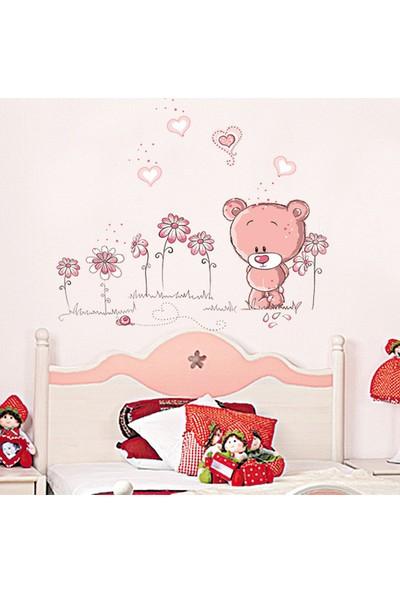 Duvar Sticker Bebek ve Çocuk Odası Dekorasyonu Pembe Duvar Dekor Sevimli Ayıcık Hediyelik Çıkartma