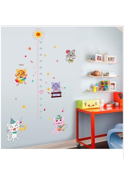 Çocuk Odası Dekoru Boy ve Gelişim Ölçer Sevimli Kediler PVC Duvar Sticker