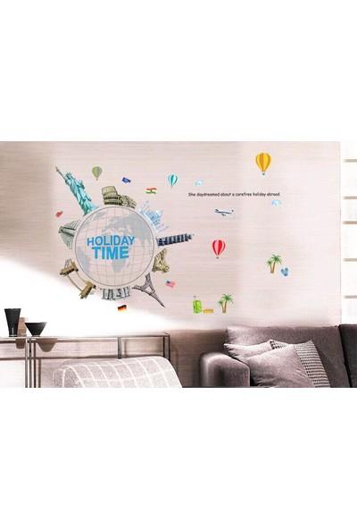Ev Dekorasyonu Dünya ve Ünlü Yapılar Kendinden Yapışkanlı PVC Sticker Hediyelik Görsel Duvar Dekoru Çıkartma