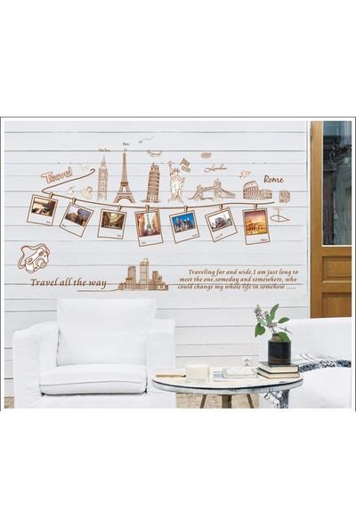 Ev Dekorasyonu Fotoğraf Çerçeveli Seyahat Temalı Kendinden Yapışkanlı PVC Sticker