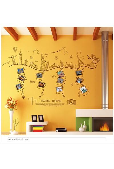 Ev Dekorasyonu Resim Çerçeveli Gezi ve Seyahat Temalı Kendinden Yapışkanlı PVC Duvar Sticker