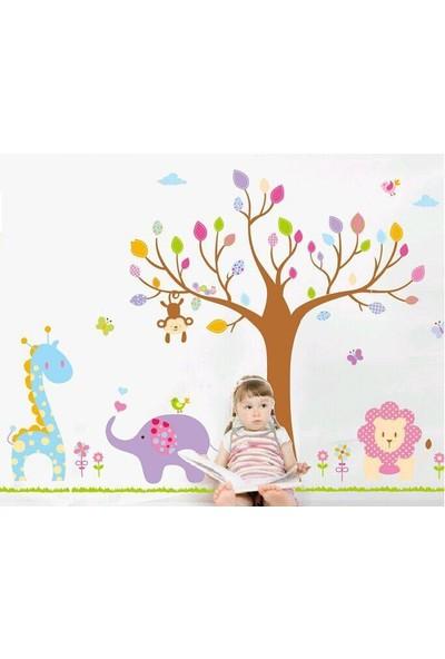 Çocuk Odası Dekorasyonu Renkli Ağaç ve Hayvanlar Kendinden Yapışkanlı PVC Duvar Sticker Hediyelik Görsel
