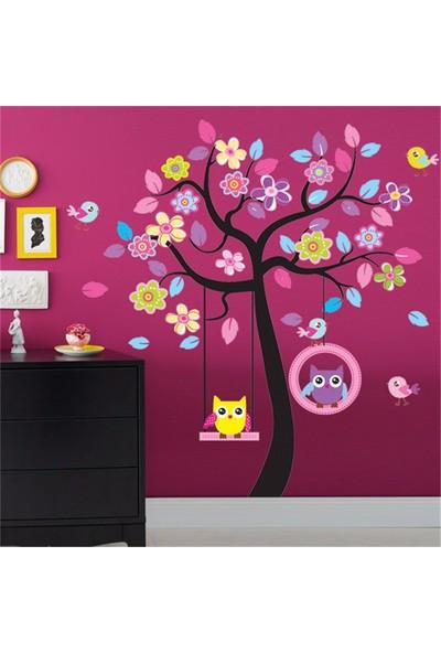 Çocuk Odası Dekorasyonu Dev Boyutlu XL Renkli Ağaç ve Baykuşlar Duvar Dekoru Çıkartma