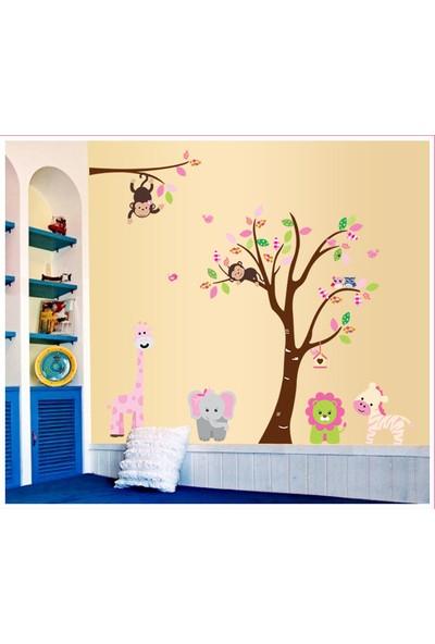 Çocuk Odası Dekorasyonu Ağaç ve Sevimli Hayvanlar Dev Boyutlu XL Kendinden Yapışkanlı PVC Duvar Sticker