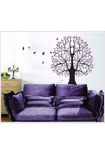 Ev Dekorasyonu Mor Çiçekli Ağaç Kendinden Yapışkanlı PVC Duvar Dekoru Sticker Görsel