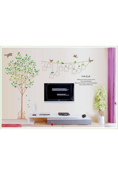 Ev Dekorasyonu Yeşil Yapraklı Ağaç ve Fotoğraf Çerçeveleri XL Kendinden Yapışkanlı PVC Sticker