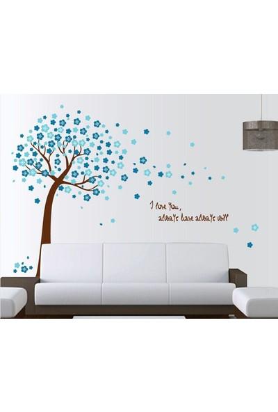 Duvar Sticker Ev Dekorasyonu Mavi Çiçekli Ağaç Kendinden Yapışkanlı Hediyelik PVC Duvar Dekoru