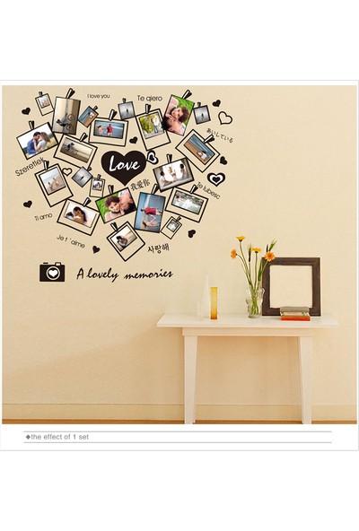 Kalp Şeklinde Ev Dekorasyonu Fotoğraf Çerçeveli Kendinden Yapışkanlı PVC Duvar Sticker Duvar Dekor Hediyelik Görsel