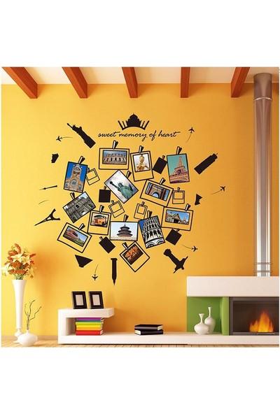 Ev Dekorasyonu Kalp Şekilli Resim Fotoğraf Çerçeveli Kendinden Yapışkanlı PVC Duvar Sticker Hediyelik