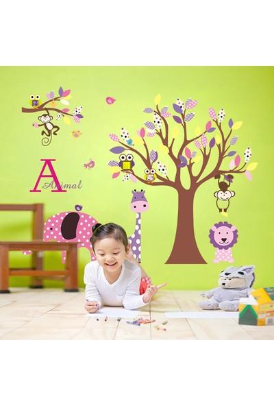 Çocuk Odası Dekorasyonu Pembe Mor Sevimli Hayvanlar ve Ağaç Hediyelik Duvar Dekoru