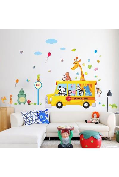 Çocuk Odası Dekorasyonu Hediyelik Duvar Dekoru Okul Otobüsü ve Sevimli Hayvanlar