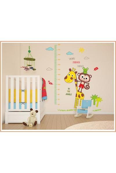 Gelişim Ölçen Çocuk Odası Dekorasyonu Maymun ve Zürafa Kendinden Yapışkanlı PVC Duvar Sticker