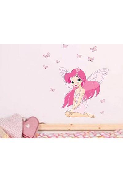 Kız Çocuk Odası Dekorasyonu Peri Kız Kendinden Yapışkanlı PVC Duvar Sticker Pembe Görsel