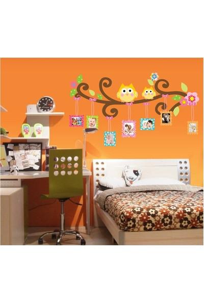 Bebek Odası Dekorasyonu Renkli Resim Çerçeveli Baykuşlar Kendinden Yapışkanlı PVC Duvar Sticker