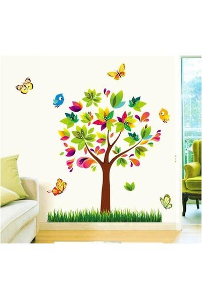 Ev Dekorasyonu Renkli Ağaç ve Kuşlar Büyük Boy Kendinden Yapışkanlı PVC Sticker Duvar Dekoru
