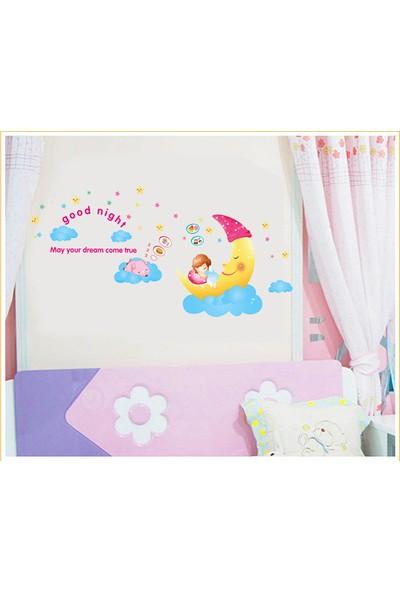Bebek Odası Dekorasyonu Hediyelik Duvar Dekoru Ay Dede Kendinden Yapışkanlı PVC Duvar Sticker
