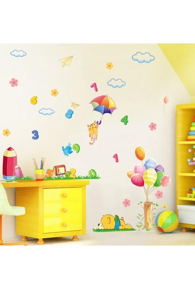 Bebek Odası Dekorasyonu Renkli Dekoratif Sevimli Kedi ve Sayılar PVC Duvar Sticker Hediyelik
