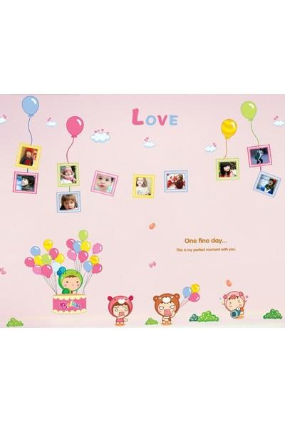 Bebek ve Çocuk Odası Dekorasyonu Renkli Resim Çerçeveli PVC Duvar Sticker Hediyelik Görsel