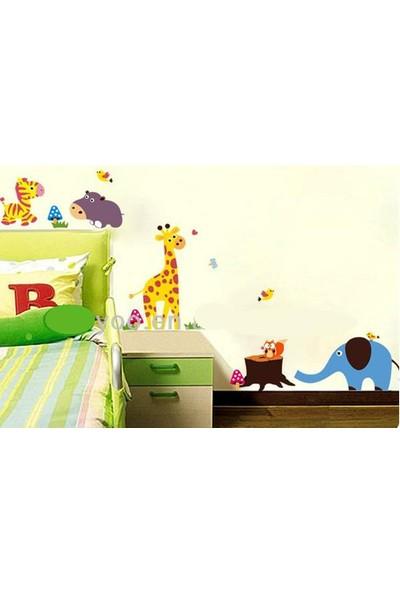 Çocuk Odası Dekorasyonu Mavi Fil ve Sevimli Hayvanlar Hediyelik Duvar Dekoru